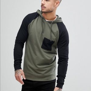 Men's Black and Olive green Muscle Hoodie